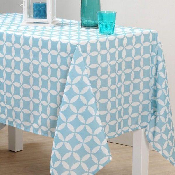 nappe rectangulaire l250 cm suomi bleu nappe de table eminza. Black Bedroom Furniture Sets. Home Design Ideas