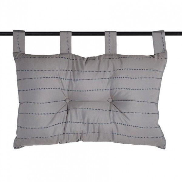 t te de lit 70 cm pointille taupe linge de lit eminza. Black Bedroom Furniture Sets. Home Design Ideas