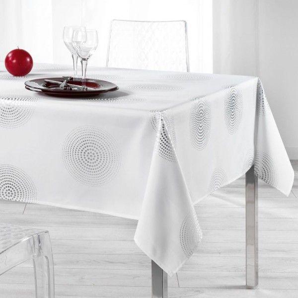 Nappe rectangulaire l240 cm atome blanc linge de table - Nappe de table rectangulaire ...