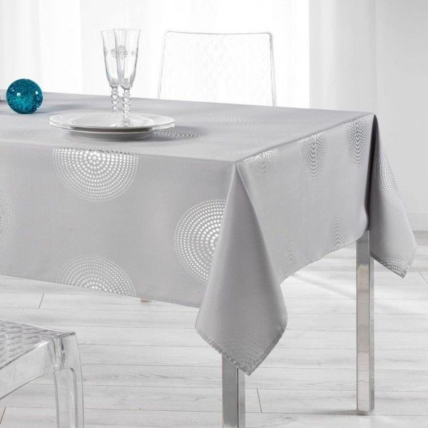 Nappe rectangulaire l300 cm atome gris linge de table - Nappe de table rectangulaire ...