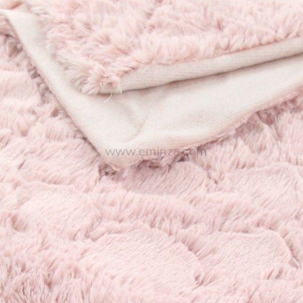 plaid doux 152 cm c urs rose d co textile eminza. Black Bedroom Furniture Sets. Home Design Ideas