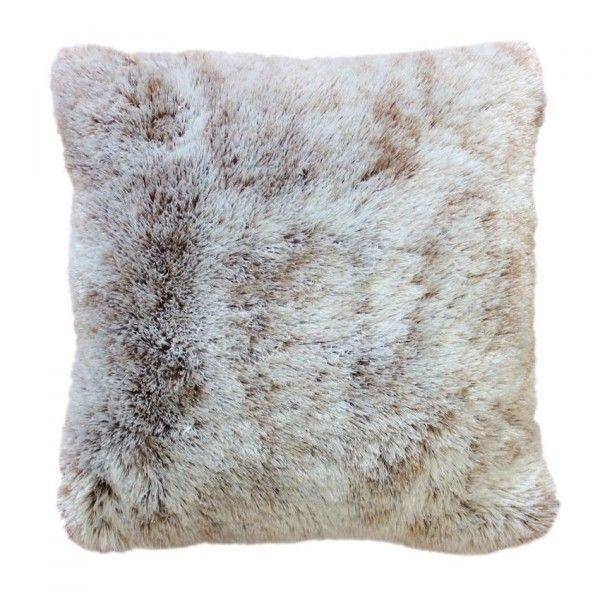 coussin fausse fourrure 40 cm antartic chocolat d co textile eminza. Black Bedroom Furniture Sets. Home Design Ideas