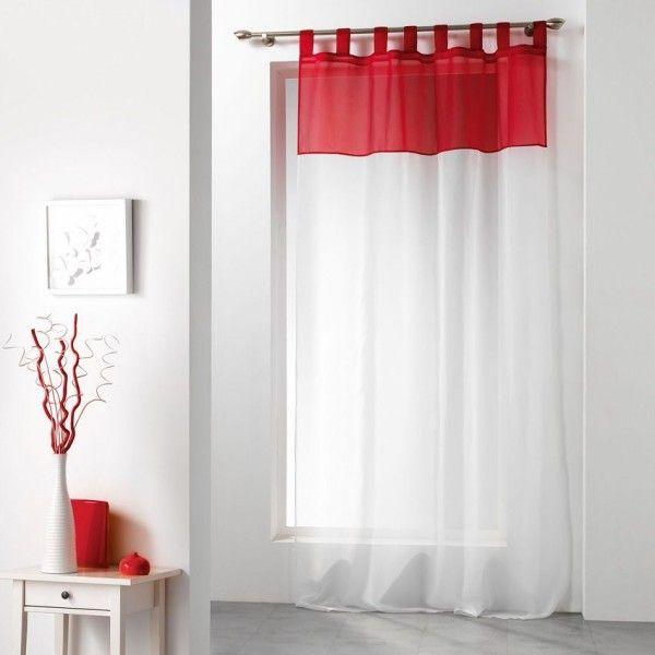 voilage 140 x h240 cm bicolore rouge rideau voilage. Black Bedroom Furniture Sets. Home Design Ideas