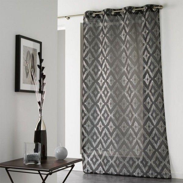 voilage 140 x 240 cm lenox noir et argent voilage eminza. Black Bedroom Furniture Sets. Home Design Ideas