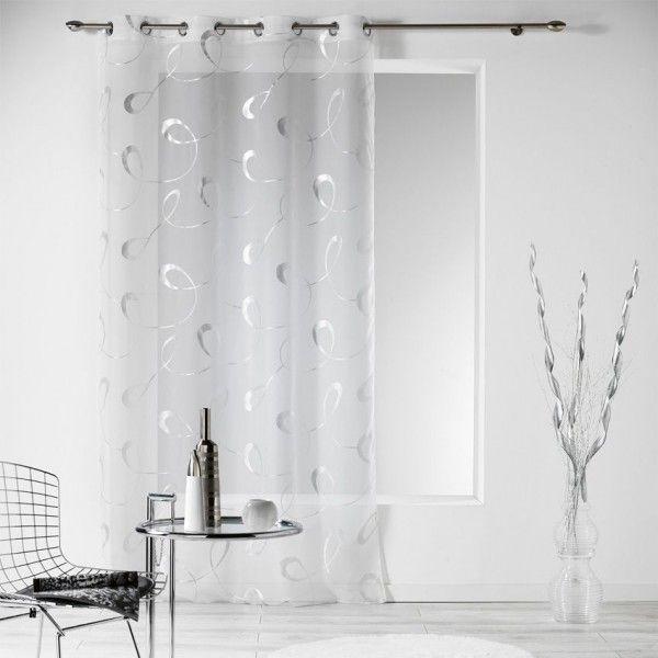 voilage 140 x 240 cm infinity blanc rideau voilage. Black Bedroom Furniture Sets. Home Design Ideas