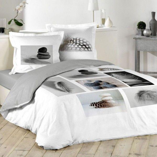 housse de couette et deux taies 240 cm plume zen linge. Black Bedroom Furniture Sets. Home Design Ideas
