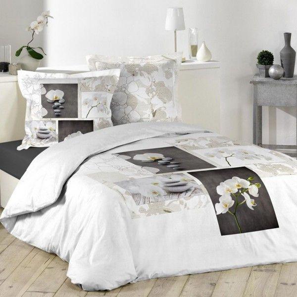 housse de couette et deux taies 240 cm orchidea zen. Black Bedroom Furniture Sets. Home Design Ideas