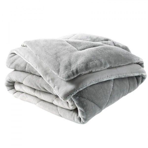 couvre lit 220 x 240 cm sweet night gris linge de lit eminza. Black Bedroom Furniture Sets. Home Design Ideas