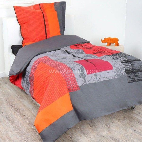 housse de couette et une taie 140 cm graphic housse de. Black Bedroom Furniture Sets. Home Design Ideas