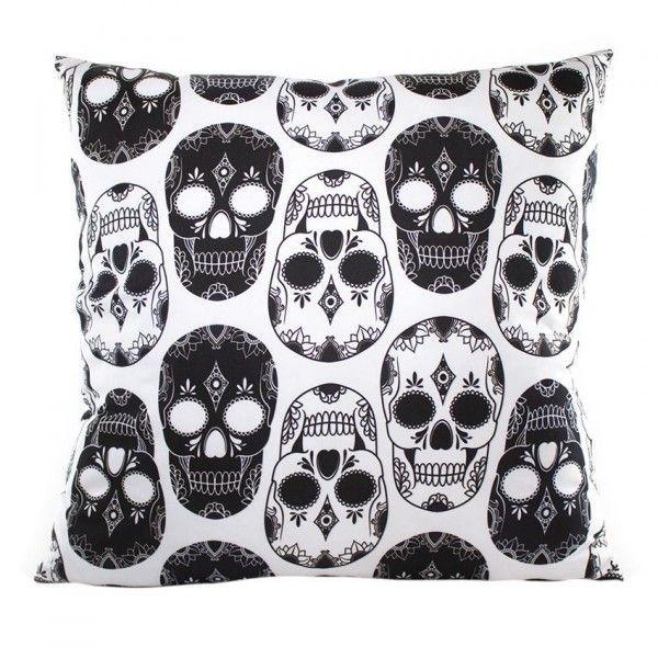 coussin edward t te de mort blanc d co textile eminza. Black Bedroom Furniture Sets. Home Design Ideas