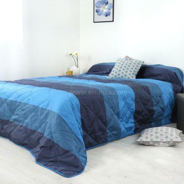 couvre lit 230 x 250 cm bergame bleu couvre lit boutis eminza. Black Bedroom Furniture Sets. Home Design Ideas