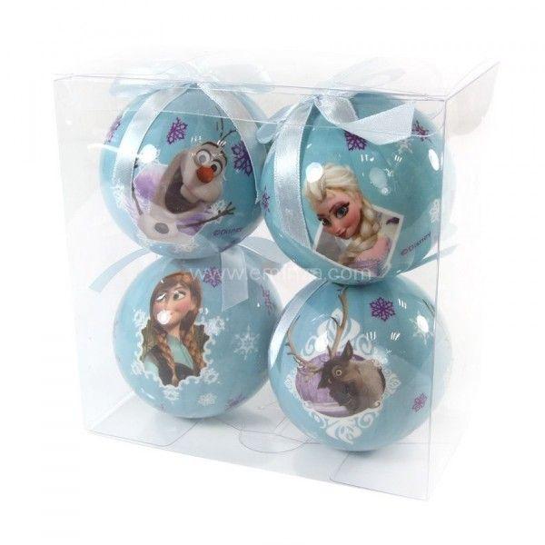 Lot de 4 boules de no l disney reine des neiges bleu - Boule de noel disney ...
