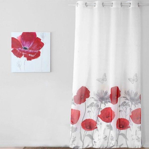 voilage 140 x h260 cm coquelicot rouge rideau. Black Bedroom Furniture Sets. Home Design Ideas