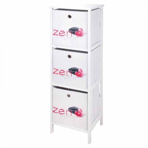 meuble 3 paniers grand format zen spirit blanc et rose. Black Bedroom Furniture Sets. Home Design Ideas