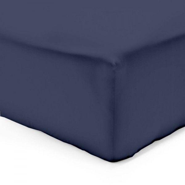 drap housse 200 cm lisa uni bleu linge de lit eminza. Black Bedroom Furniture Sets. Home Design Ideas