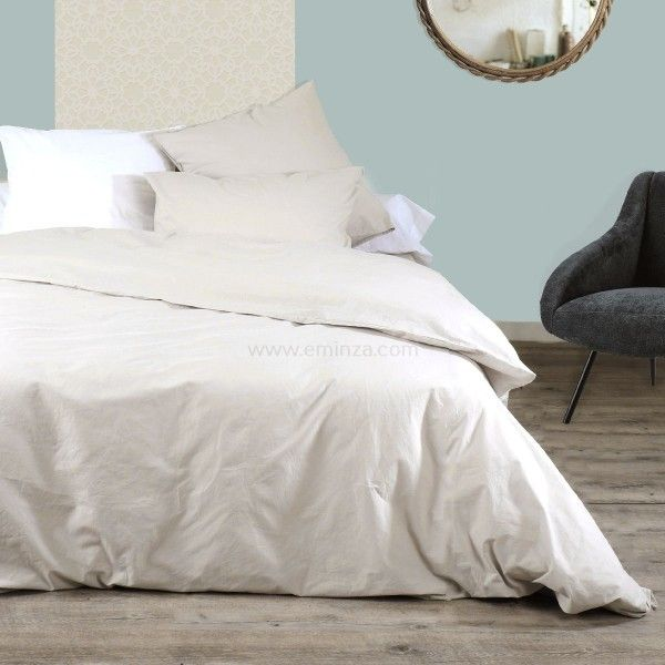 Housse de couette top promo linge de lit eminza - Housse de couette coton lave ...
