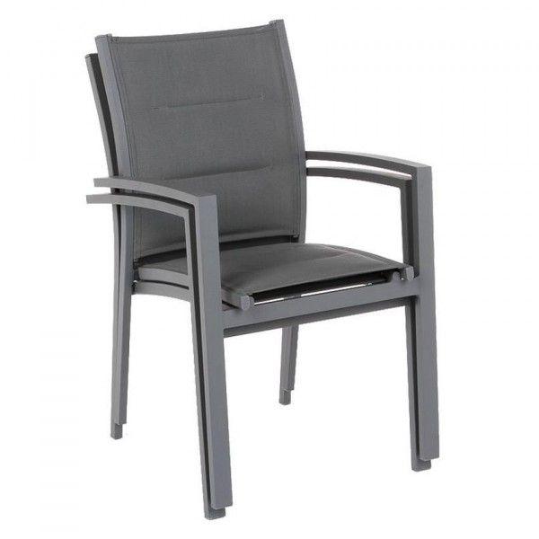 fauteuil de jardin alu empilable azua ardoise salon de. Black Bedroom Furniture Sets. Home Design Ideas