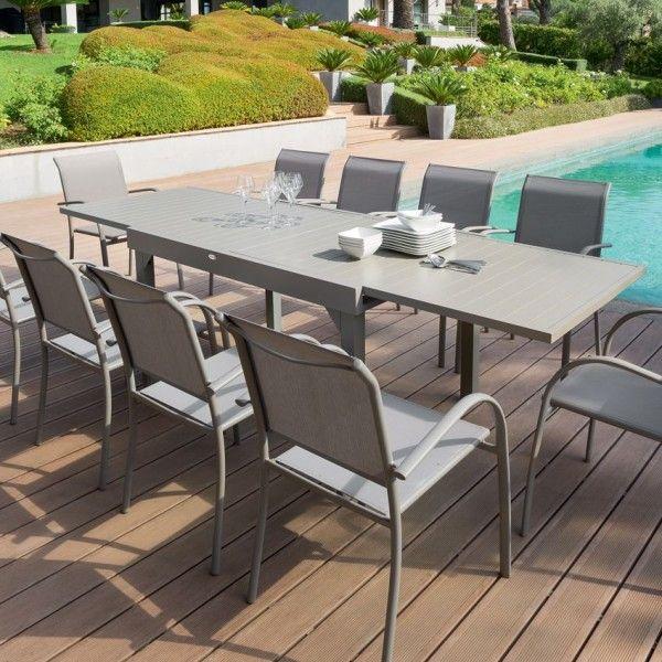 Table de jardin extensible Aluminium Piazza (max. 270 cm) - Taupe ...