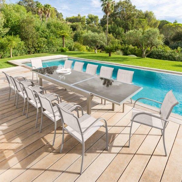 salon de jardin piazza taupe mastic verre 6 10 personnes salon de jardin eminza. Black Bedroom Furniture Sets. Home Design Ideas