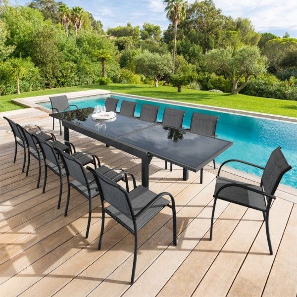 salon de jardin piazza anthracite graphite verre 8 12 personnes salon de jardin eminza. Black Bedroom Furniture Sets. Home Design Ideas
