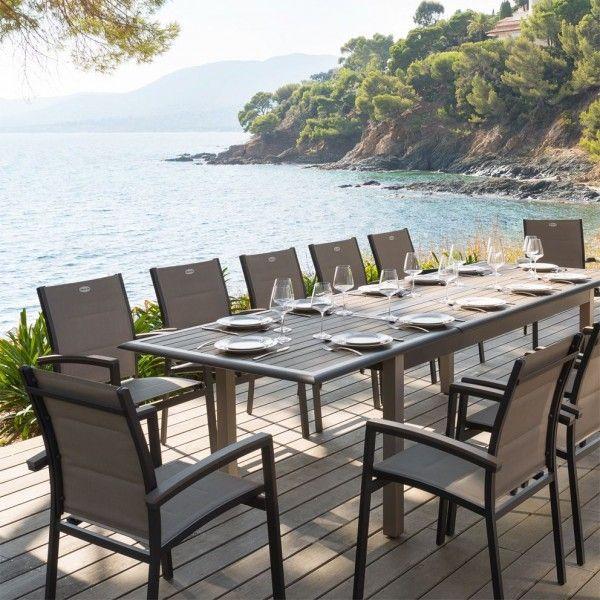 Salon de jardin azua composite taupe anthracite 8 12 personnes salon de jardin table et - Salon de jardin hesperide azua gris ...