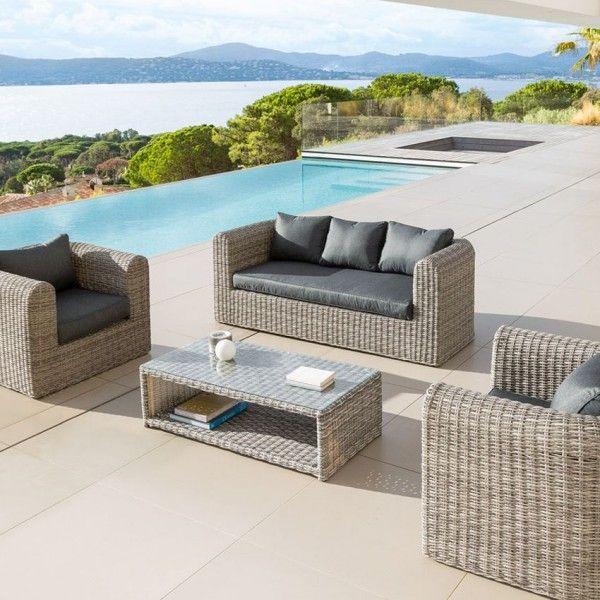 salon de jardin libertad sepia gris anthracite 5 places salon de jardin eminza. Black Bedroom Furniture Sets. Home Design Ideas