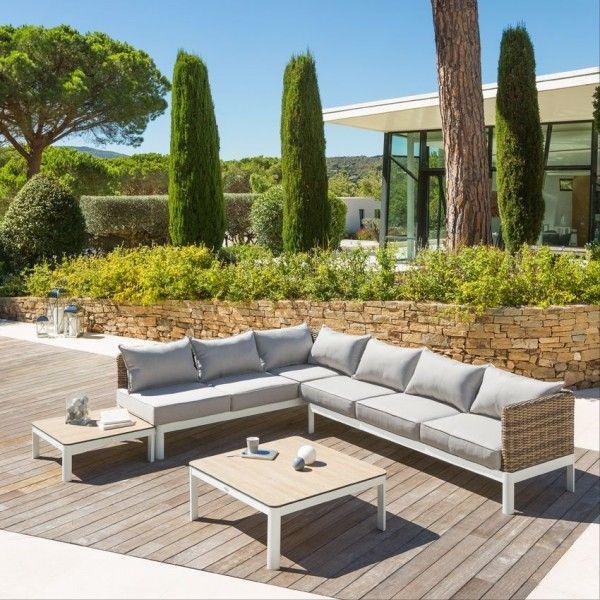 salon de jardin barcelone naturel gris clair 6 places salon de jardin table et chaise eminza. Black Bedroom Furniture Sets. Home Design Ideas