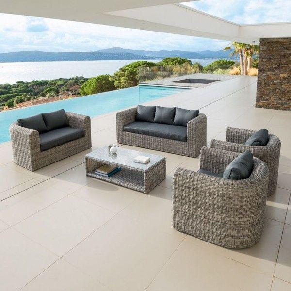 Salon de jardin libertad sepia gris anthracite 7 places salon de jardin table et chaise - Chaise de jardin gris anthracite ...