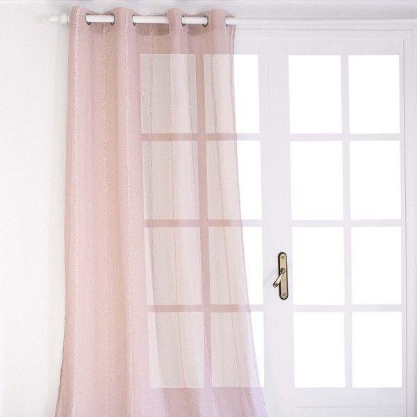 rideau et voilage rose eminza. Black Bedroom Furniture Sets. Home Design Ideas