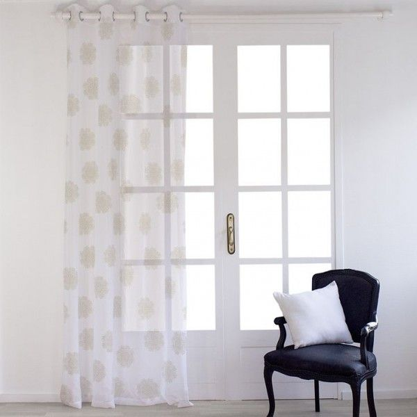 Voilage (140 x H240 cm) Dolly flore Blanc or