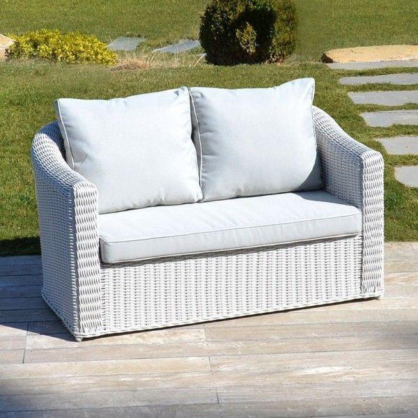 canap de jardin 2 places capri blanc perle salon de. Black Bedroom Furniture Sets. Home Design Ideas
