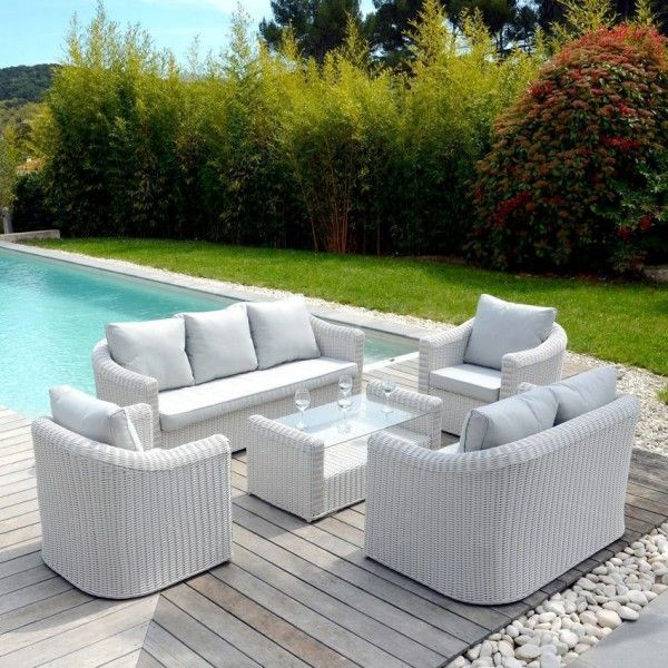 canap de jardin 3 places capri blanc perle salon composer eminza. Black Bedroom Furniture Sets. Home Design Ideas
