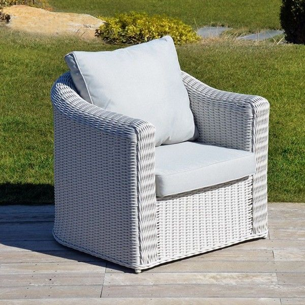fauteuil de jardin calvi blanc perle salon de jardin table et chaise eminza. Black Bedroom Furniture Sets. Home Design Ideas