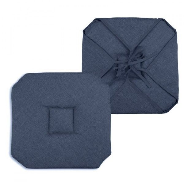Galette et coussin de chaise coussin et galette eminza - Galette de chaise ronde bleu ...