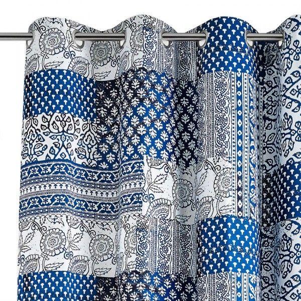 rideau et voilage bleu motif eminza. Black Bedroom Furniture Sets. Home Design Ideas
