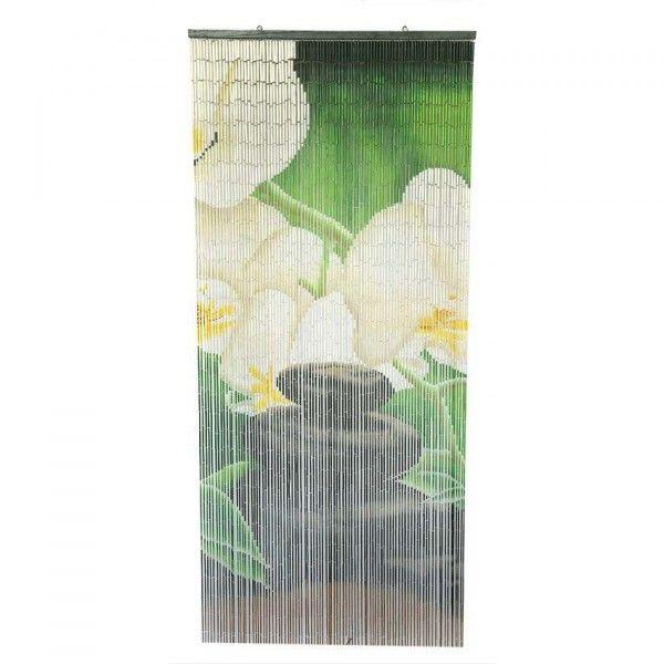 rideau de porte 90 x 200 cm stick bambou zen vert rideau voilage store eminza. Black Bedroom Furniture Sets. Home Design Ideas