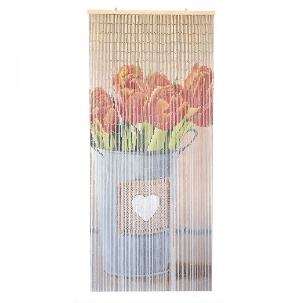Rideau de porte Stick Bambou Tulipes Orange