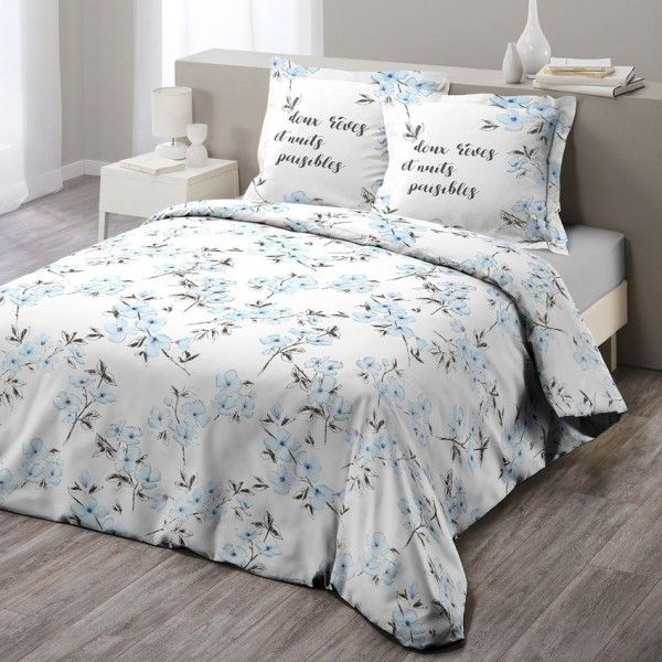 Linge de lit bleu coton sup rieur eminza for Housse de couette laura ashley