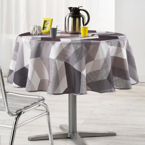 nappe ronde d180 cm ultragraphic noir et blanc linge de table eminza