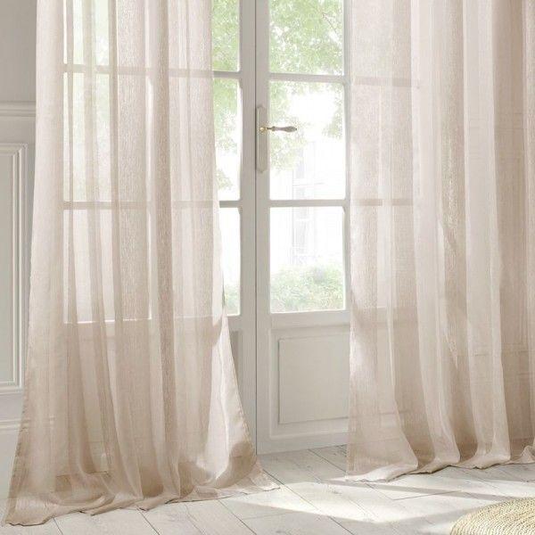 Voilage ecru rideau et voilage eminza for Soldes rideaux lin
