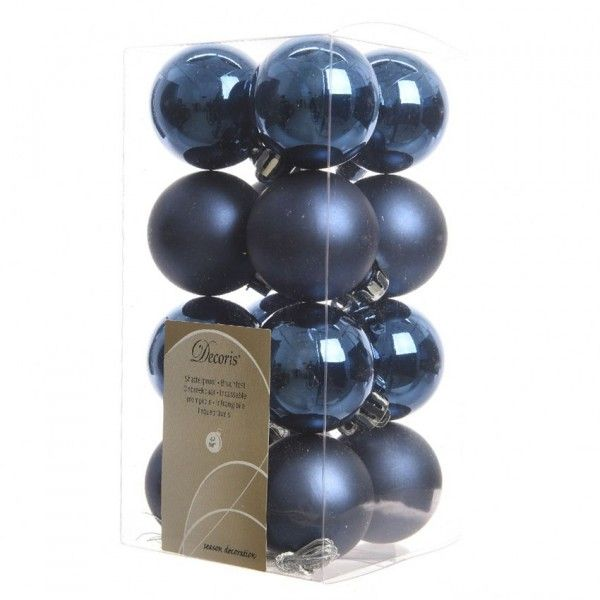 lot de 16 boules de no l alpine bleu nuit boule et d co. Black Bedroom Furniture Sets. Home Design Ideas