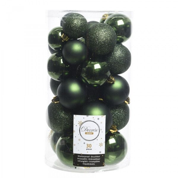 Lot de 30 boules de Noël Alpine assorties Vert sapin