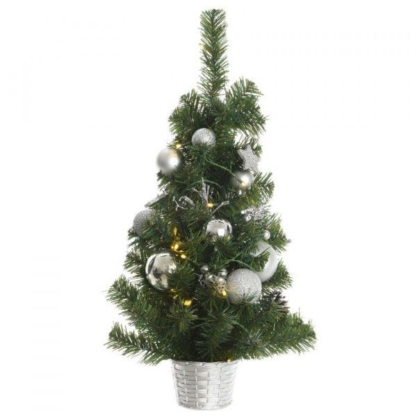 Sapin artificiel de table pré-illuminé Versini H60 cm Argent