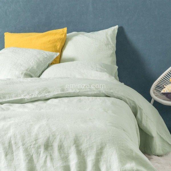 taie d 39 oreiller carr e lin lav sonate vert tilleul linge de lit eminza. Black Bedroom Furniture Sets. Home Design Ideas