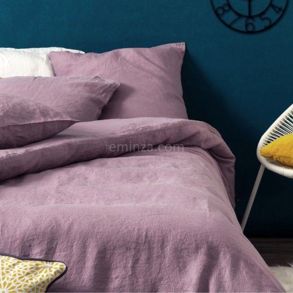 housse de couette 140 cm lin lav sonate mauve housse de couette eminza. Black Bedroom Furniture Sets. Home Design Ideas