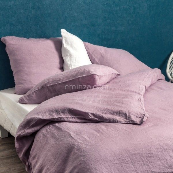 housse de couette 240 cm lin lav sonate mauve linge de lit eminza. Black Bedroom Furniture Sets. Home Design Ideas