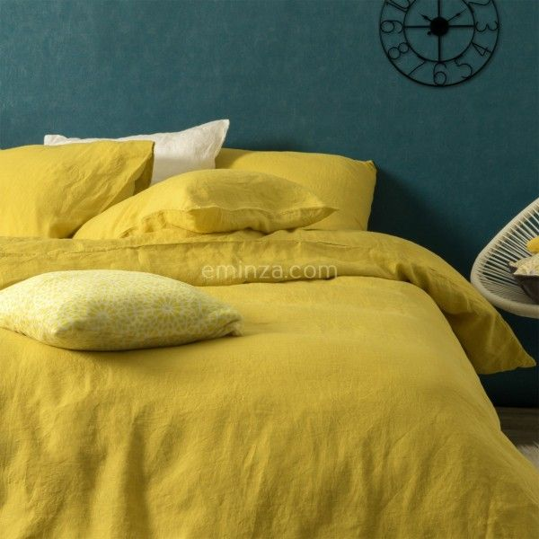 housse de couette 240 cm lin lav sonate jaune safran linge de lit eminza. Black Bedroom Furniture Sets. Home Design Ideas