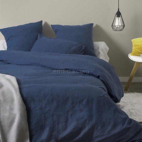 housse de couette 260 cm lin lav pure bleu indigo housse de couette eminza. Black Bedroom Furniture Sets. Home Design Ideas