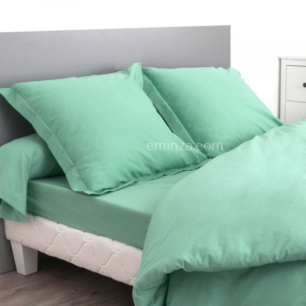 drap housse coton sup rieur 140 cm confort vert amande drap housse eminza. Black Bedroom Furniture Sets. Home Design Ideas