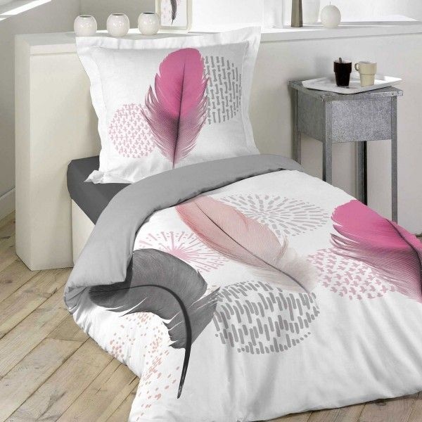 housse de couette et taie pink dream 100 coton 140 cm rose p le housse de couette eminza. Black Bedroom Furniture Sets. Home Design Ideas